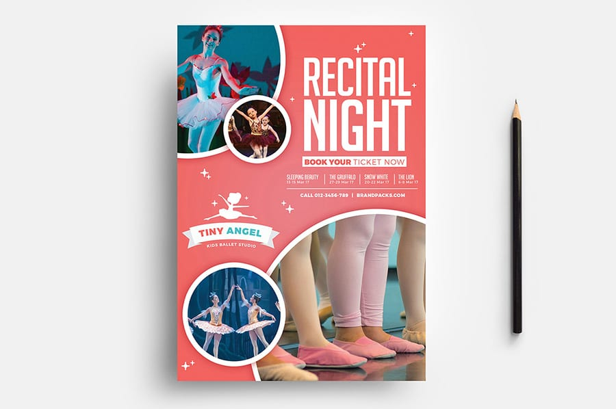 Free Kid's Ballet Flyer Template Vector