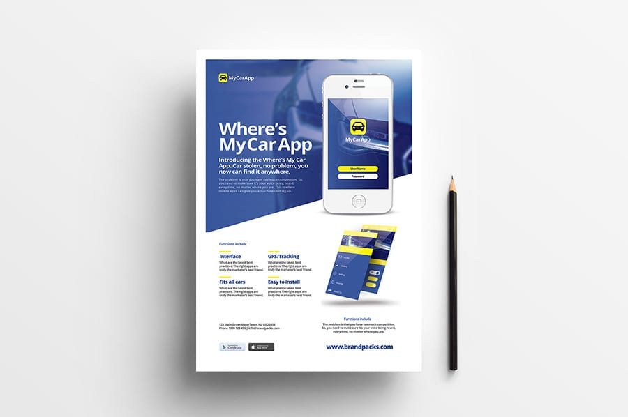 Free Mobile App Flyer Template Vector
