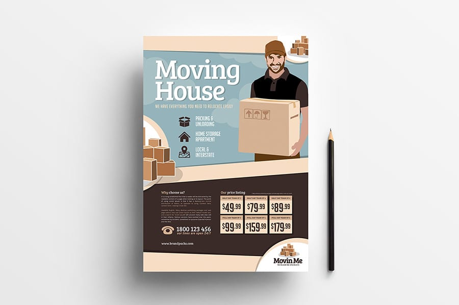 Free Moving House Flyer Template Vector