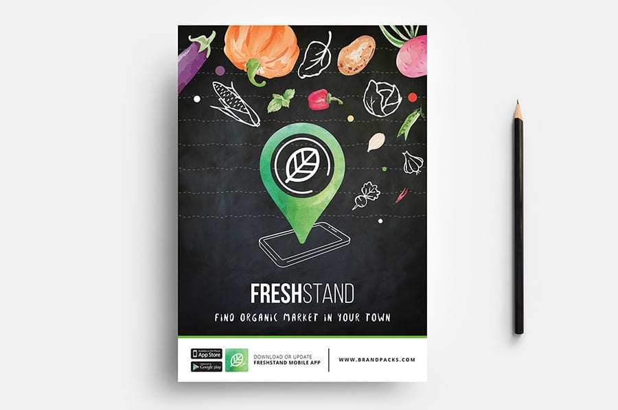 Free Organic Market Flyer Template Vector