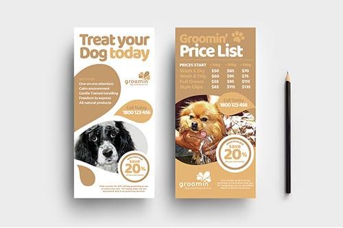 Free Pet Groom Rack Card Template