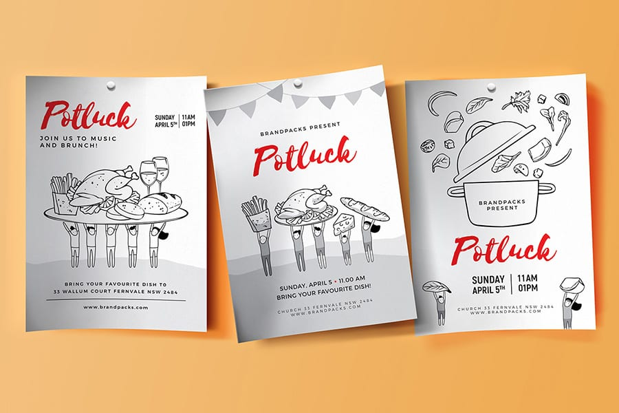Free Potluck Flyer Template Vector
