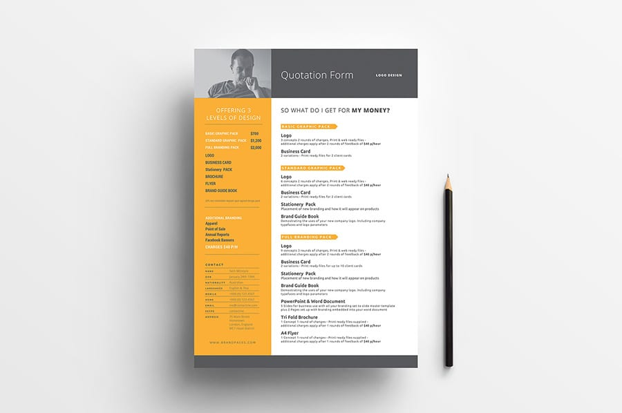 Free Quotation Form Template Vector
