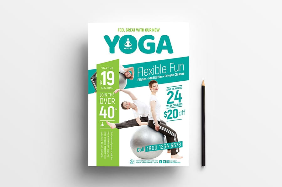 Free Yoga Flyer Template Vector