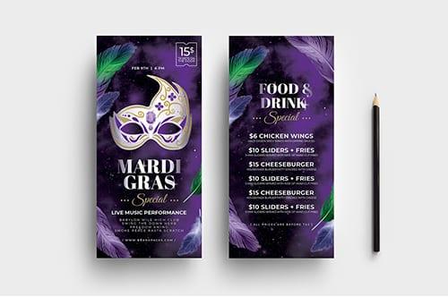 Mardi Gras DL Rack Card Template