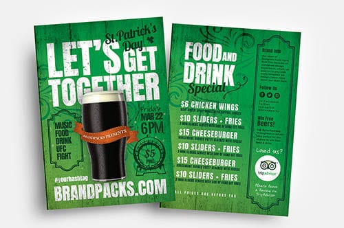 St. Patrick's Day Bar Flyer Templates