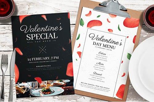 Valentine's Day Menu Poster Templates