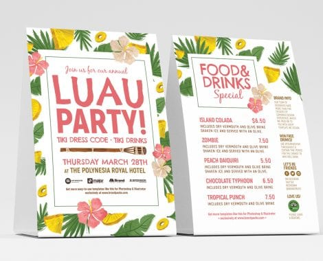 Free Luau Party Table Tent Templates