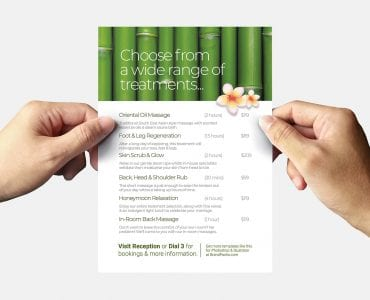 Free Hotel Spa Flyer Template (Back)