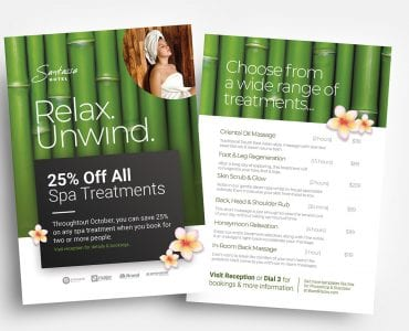 Free Hotel Spa Flyer Templates