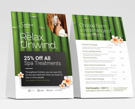 Free Hotel Spa Table Tent Templates