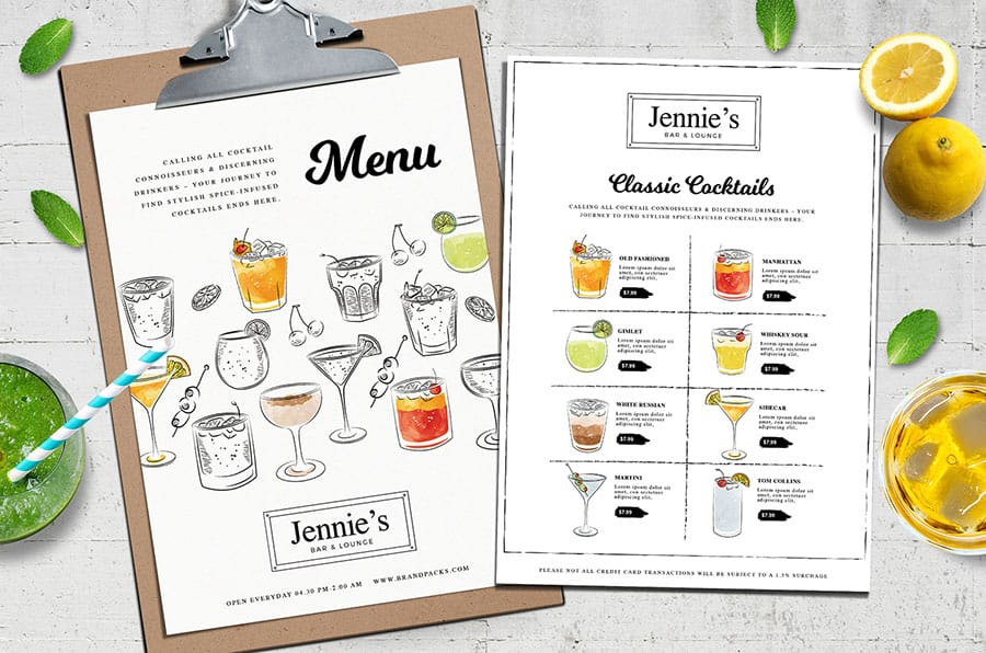 Cocktail Menu Template Vol.3 in PSD & Vector