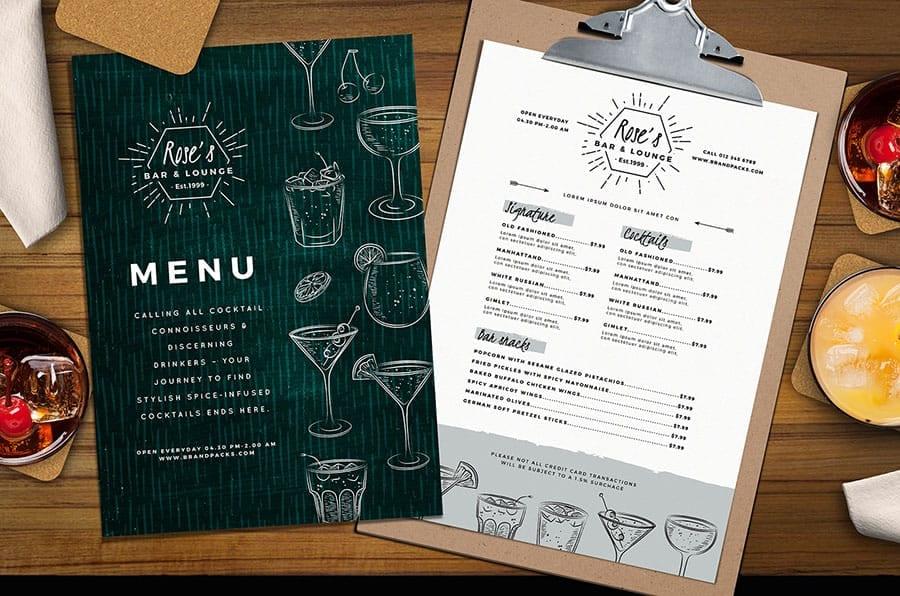 Cocktail Menu Template for Photoshop & Illustrator
