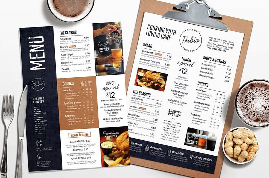 Bar Menu Templates for Photoshop & Illustrator