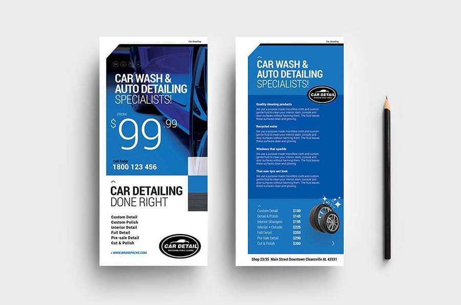 Car Detailing Rack Card Template