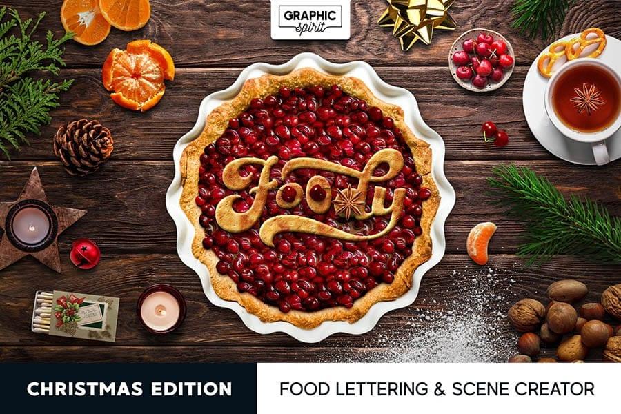 Christmas Food Lettering & Scene Mockup