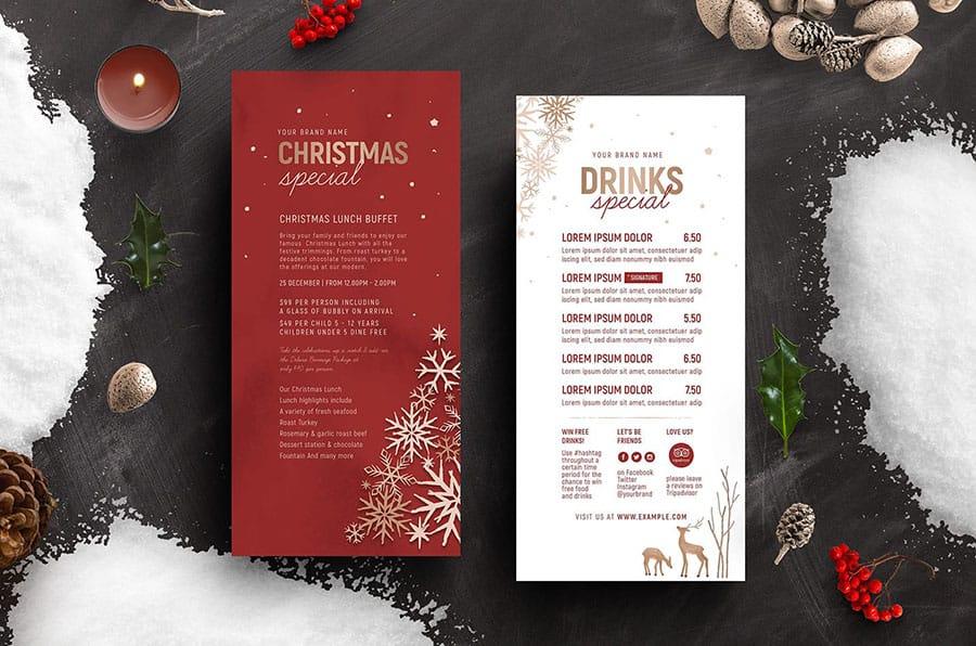 Ornate Christmas DL Menu Card Template