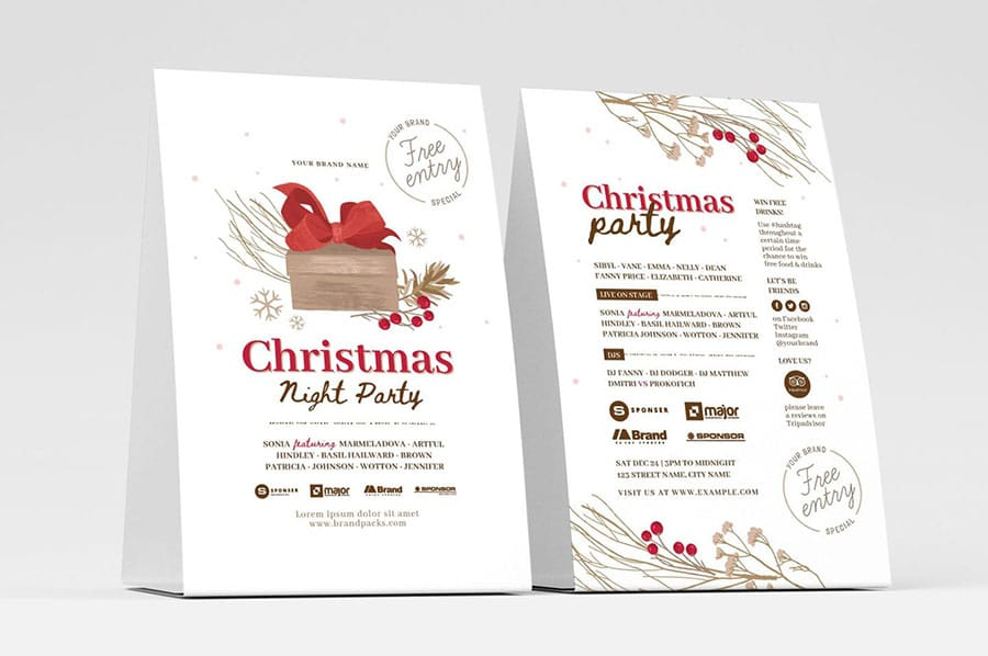 Rustic Christmas Flyer/Table Tent Template