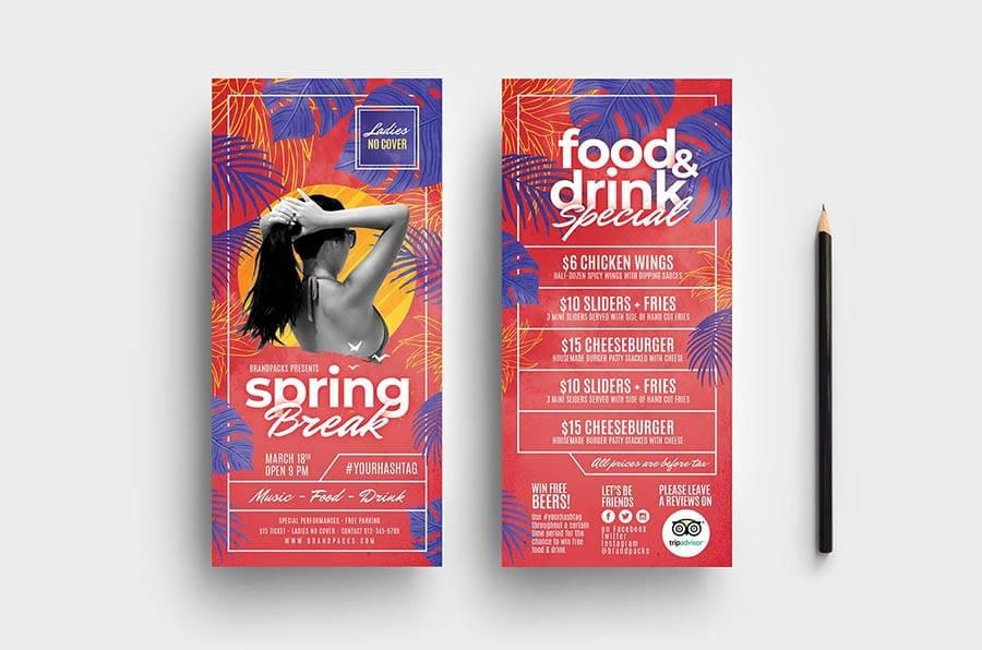 Spring Break DL Rack Card Template