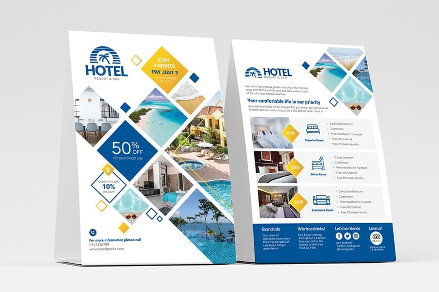 Hotel Flyer / Table Tent Templates
