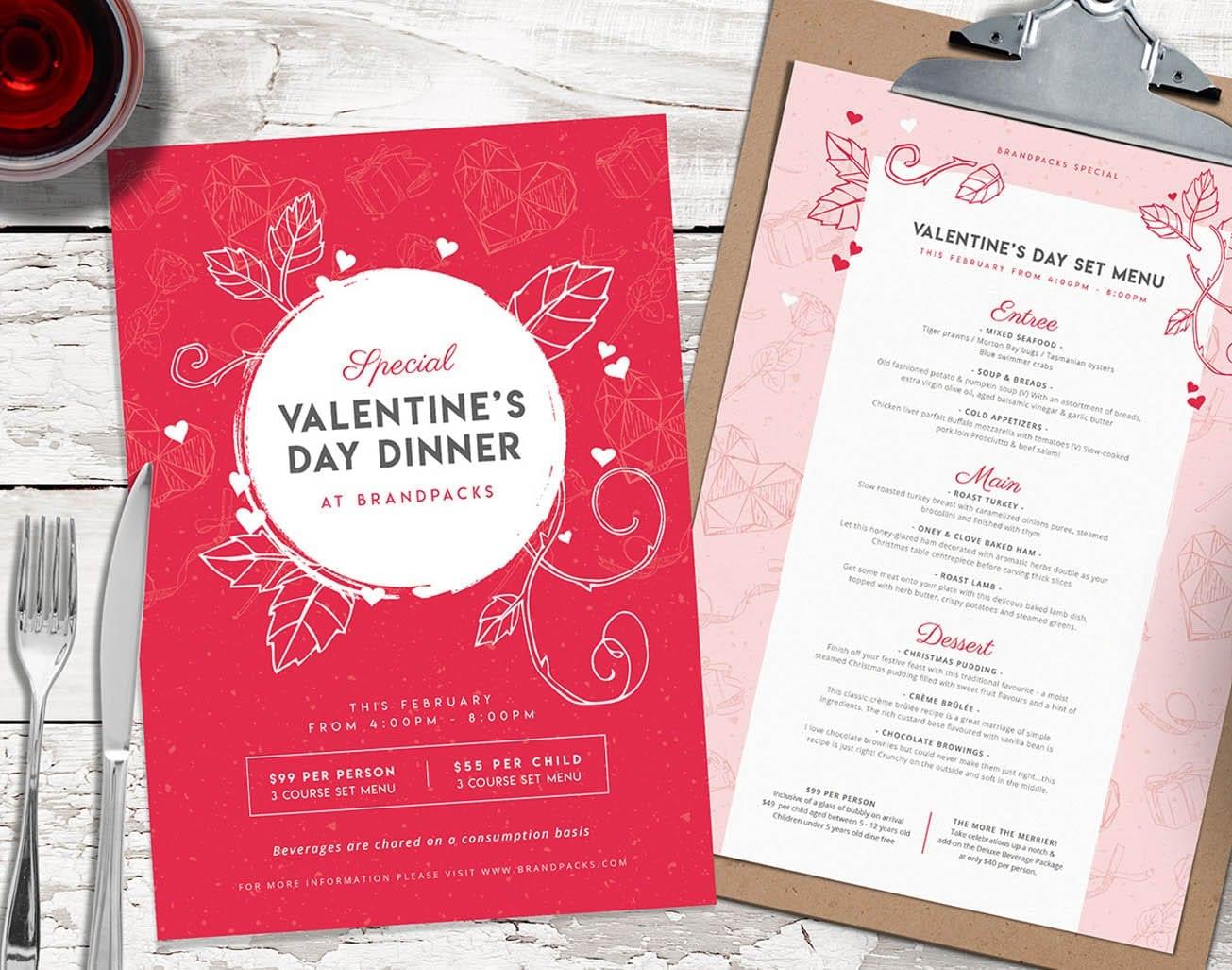 Valentine's Day Menu Templates on BrandPacks