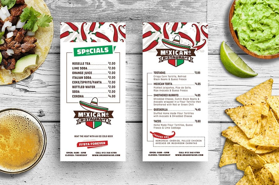 Mexican Restaurant Menu Rack Card Layout