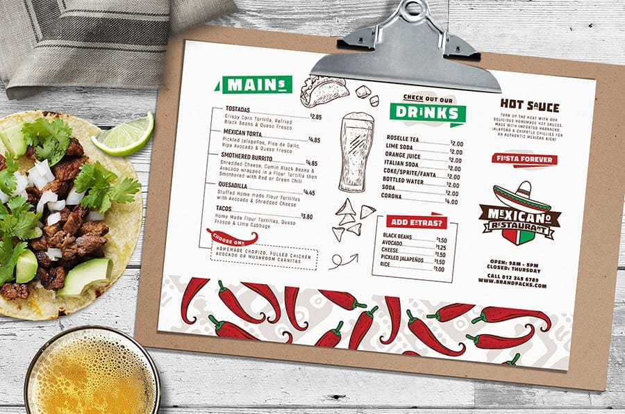 Mexican Menu Layout Template in PSD & Vector (Landscape)