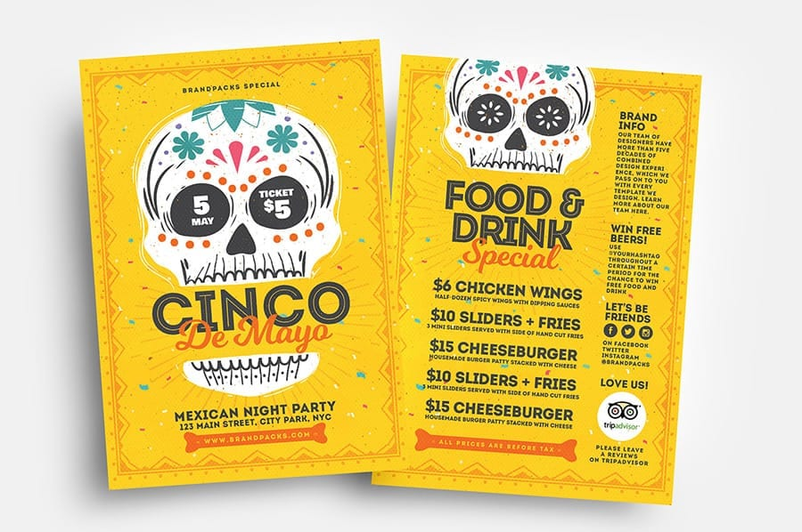 Cinco de Mayo Flyer Templates with Illustrated Calacas