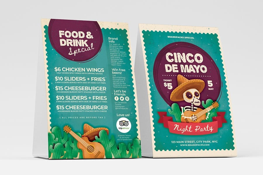 Illustrated Cinco de Mayo Table Tent Design