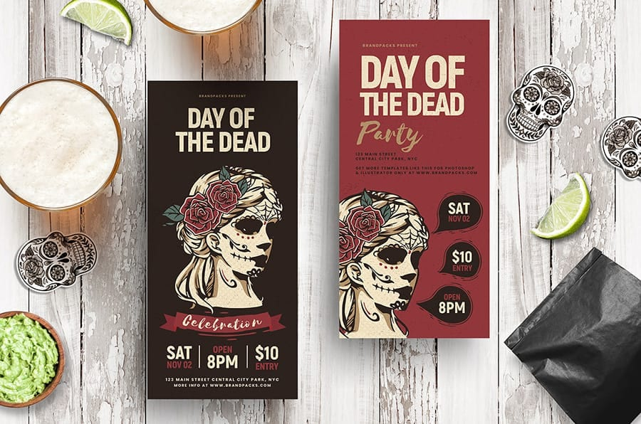 Day of The Dead DL Rack Card Template