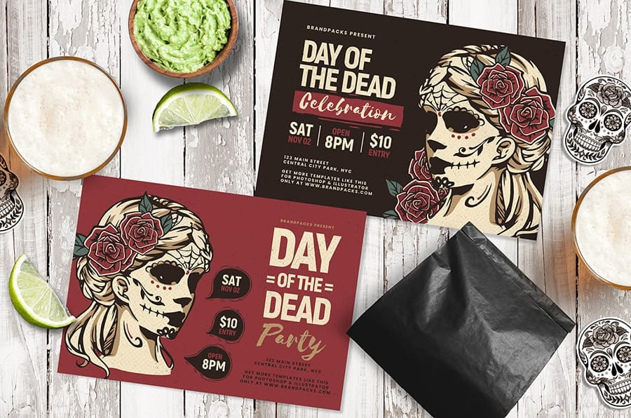Day of The Dead Flyer Template with Illustrated Lady