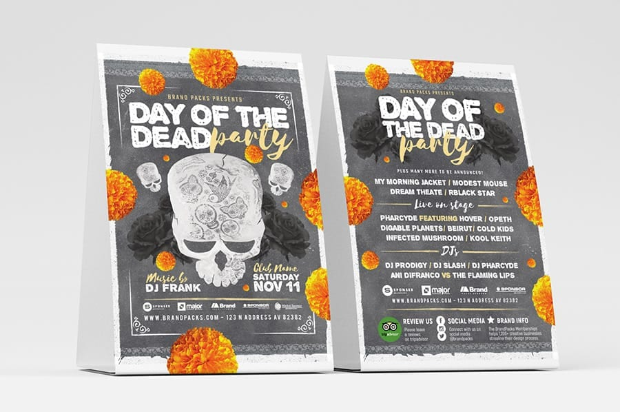 Day of The Dead Party Flyer / Table Tent Template
