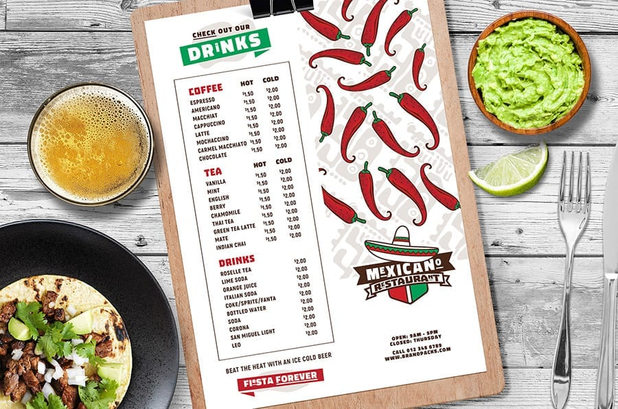 Mexican Menu Layout Template in PSD & Vector