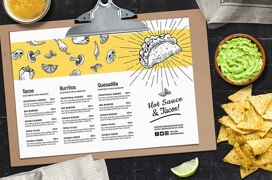 A4 Mexican Menu Template Landscape