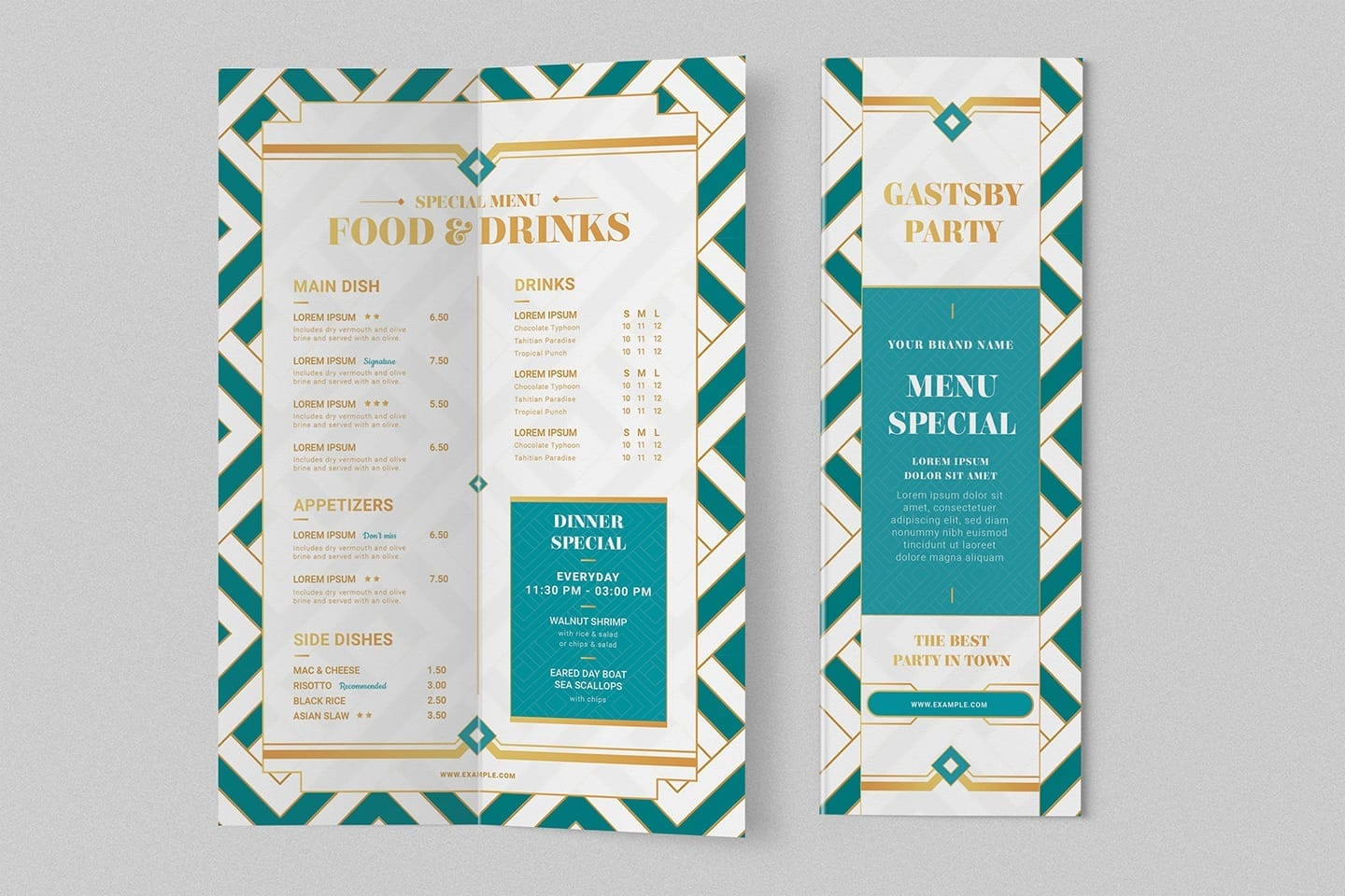 Art Deco Bi-Fold Menu Template