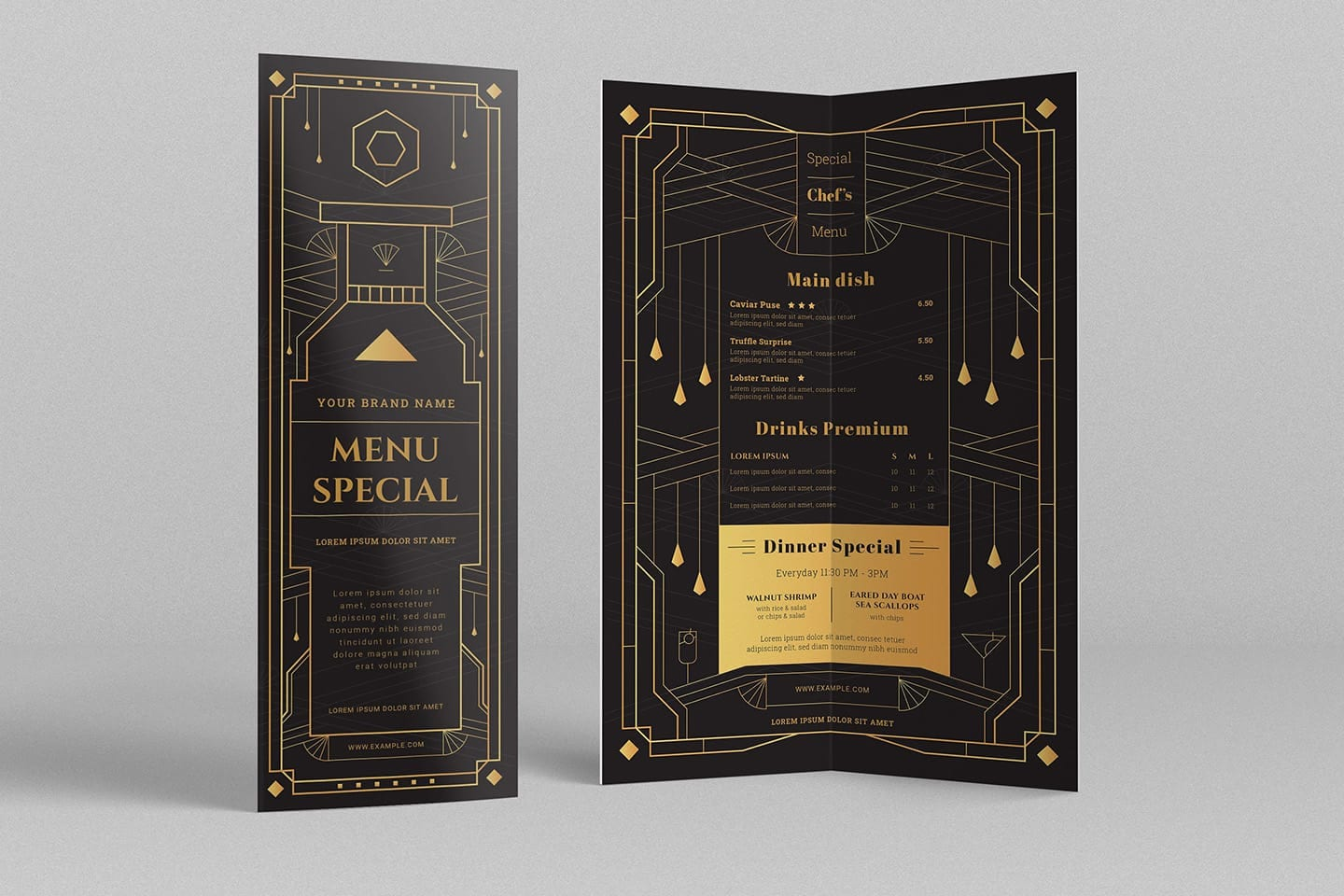 Art Deco Cocktail Bar Menu Template
