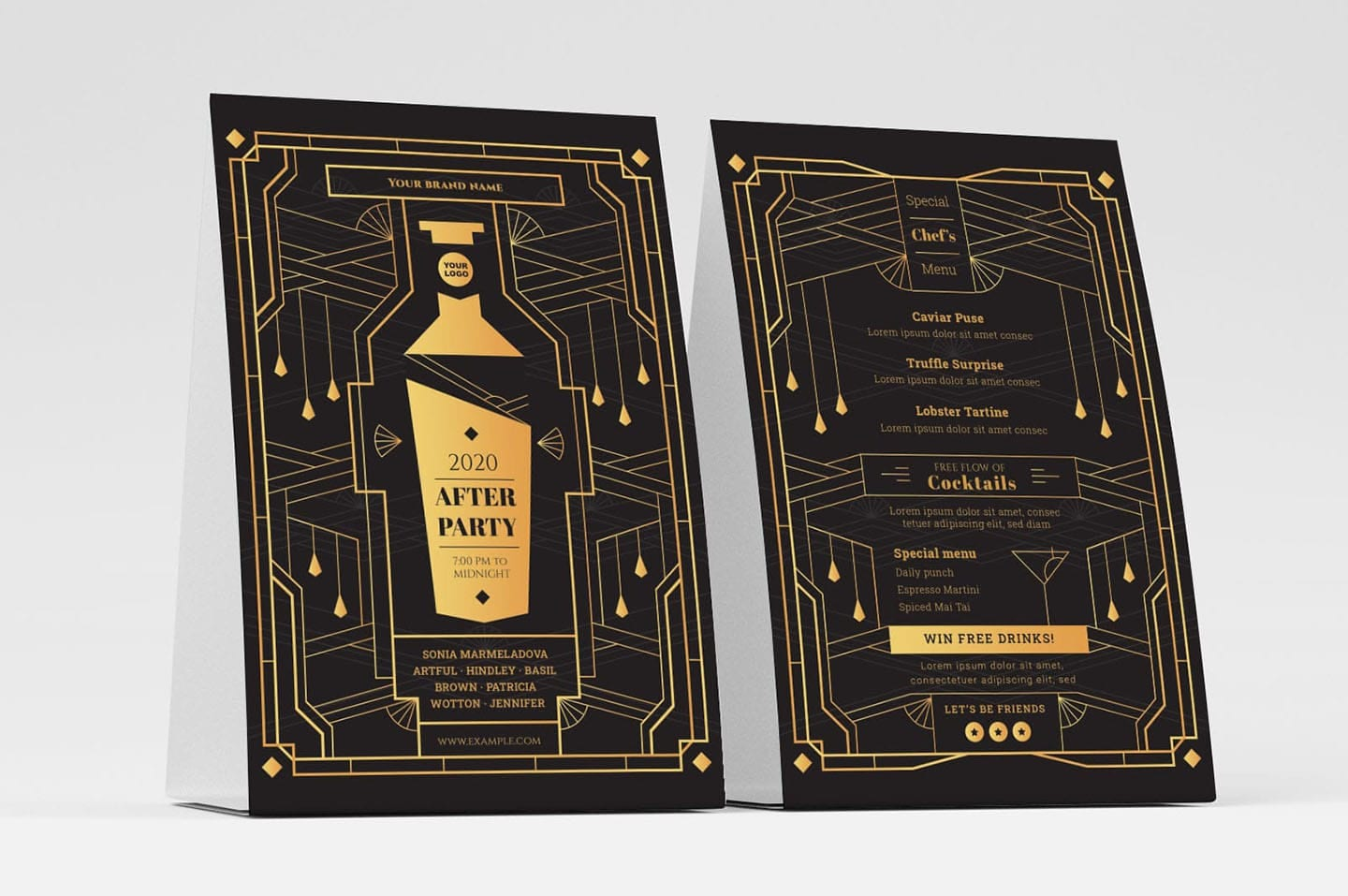 Art Deco Cocktail Party Flyer Templates, Photoshop & Illustrator