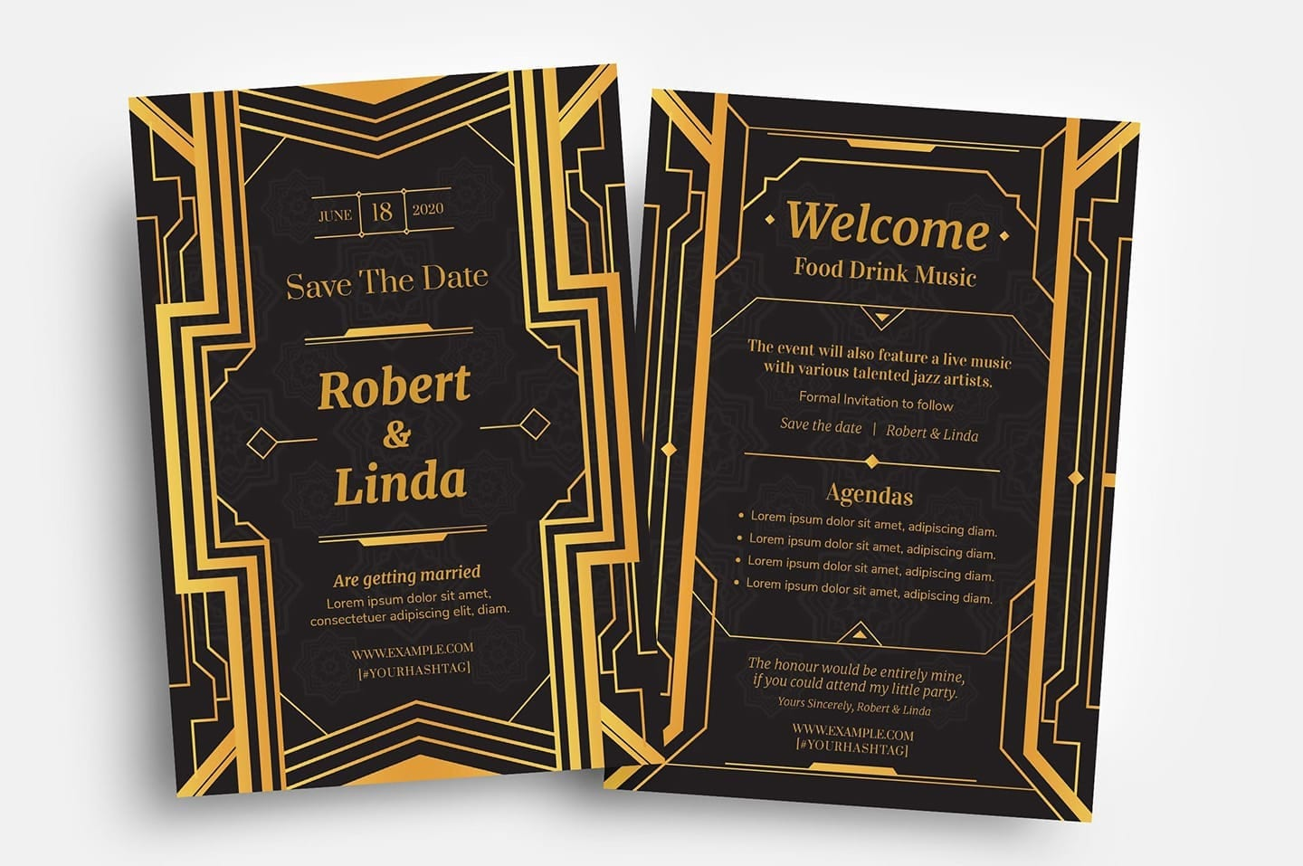 Art Deco Flyer Templates in PSD & Vector