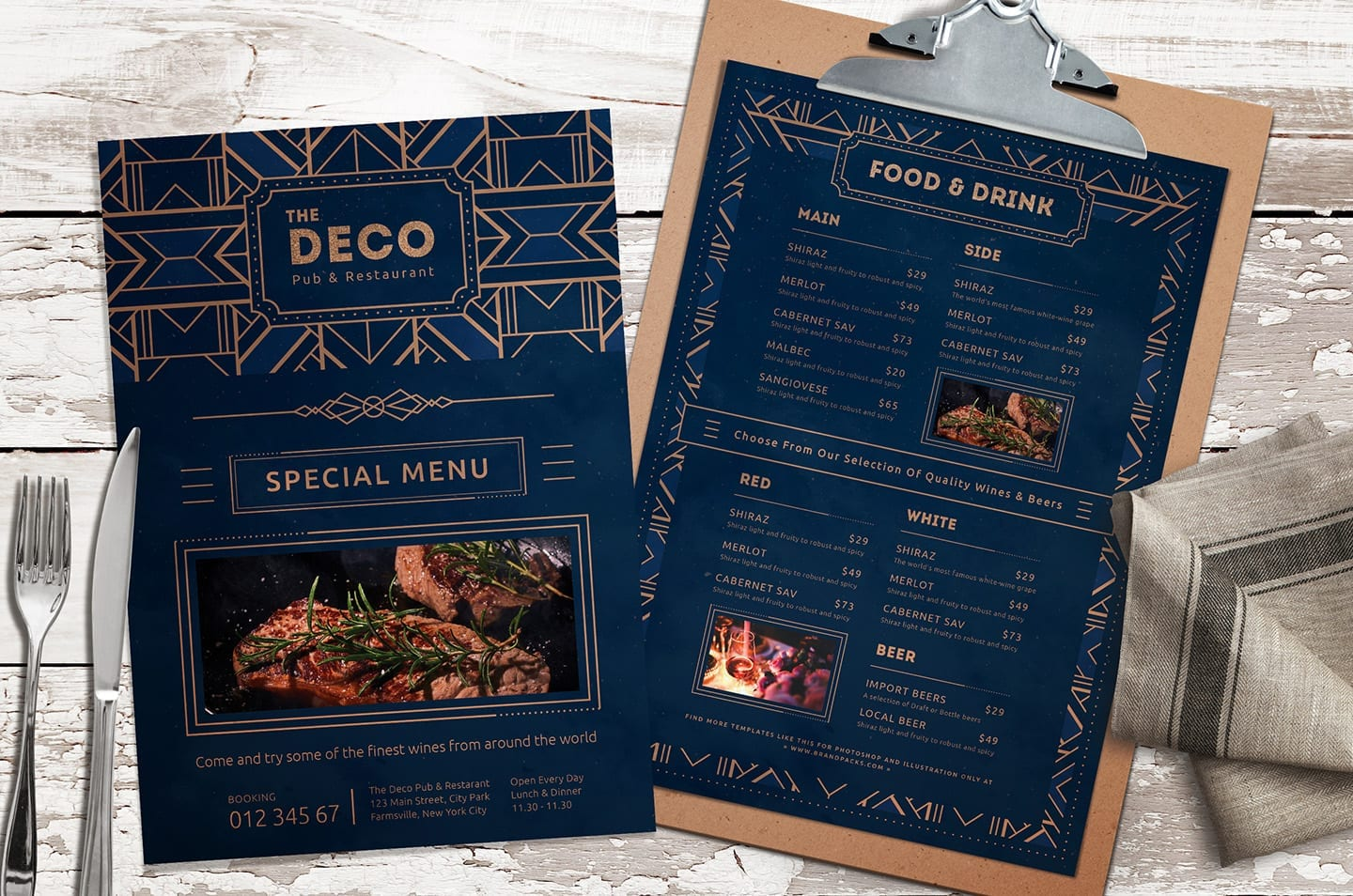 Art Deco Menu Templates vol.2, PSD & Vector