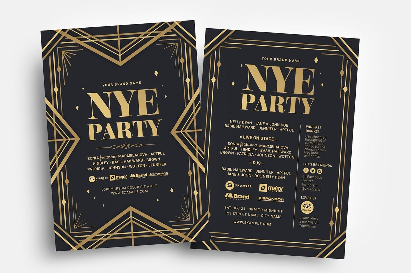 Art Deco NYE Party Flyer Template