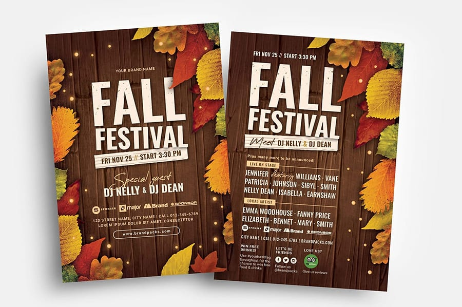 Fall Festival Flyer Templates, PSD & Vector