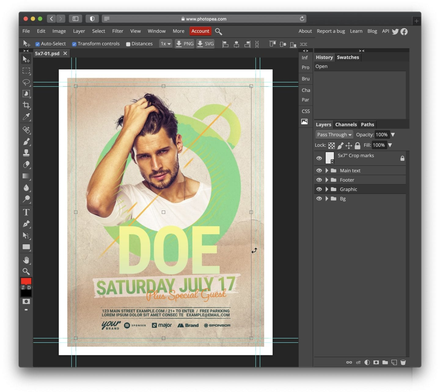 Open PSD File with Photopea