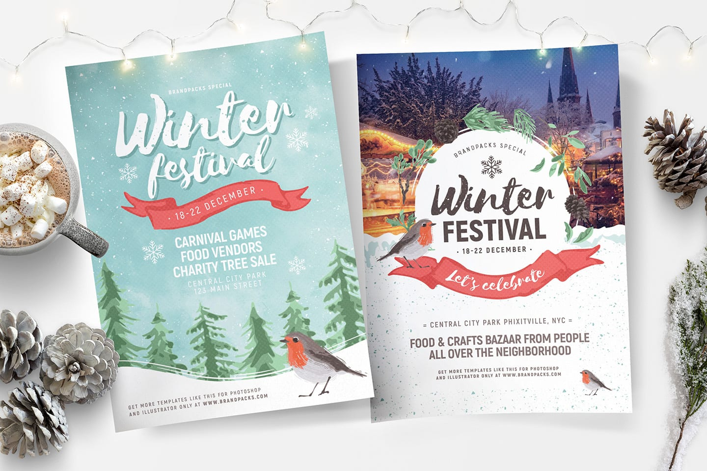 Winter Festival Posters for Photoshop & Illustrator