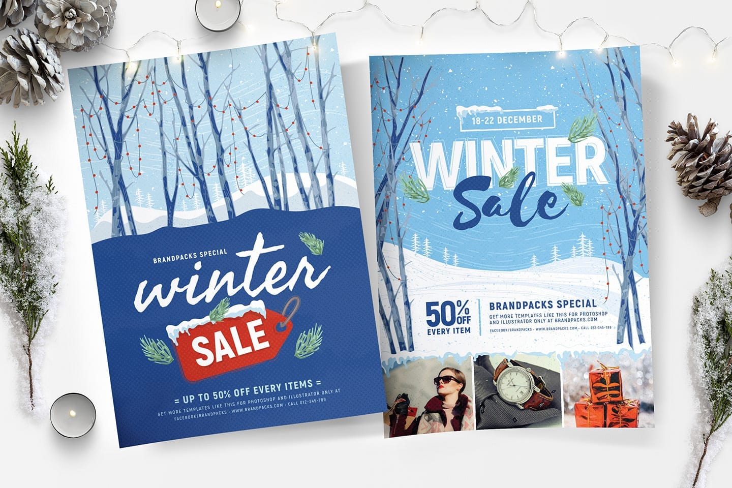Winter Sale Poster Templates - Photoshop & Illustrator