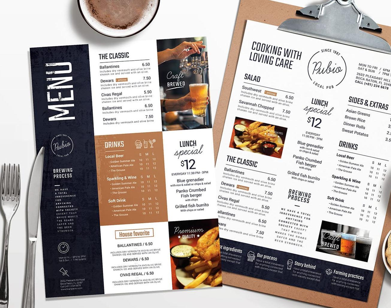 Bar Menu Templates (PSD & Vector)