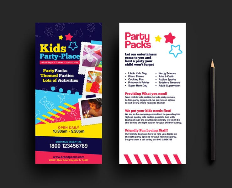 Kid's Party DL Card Template
