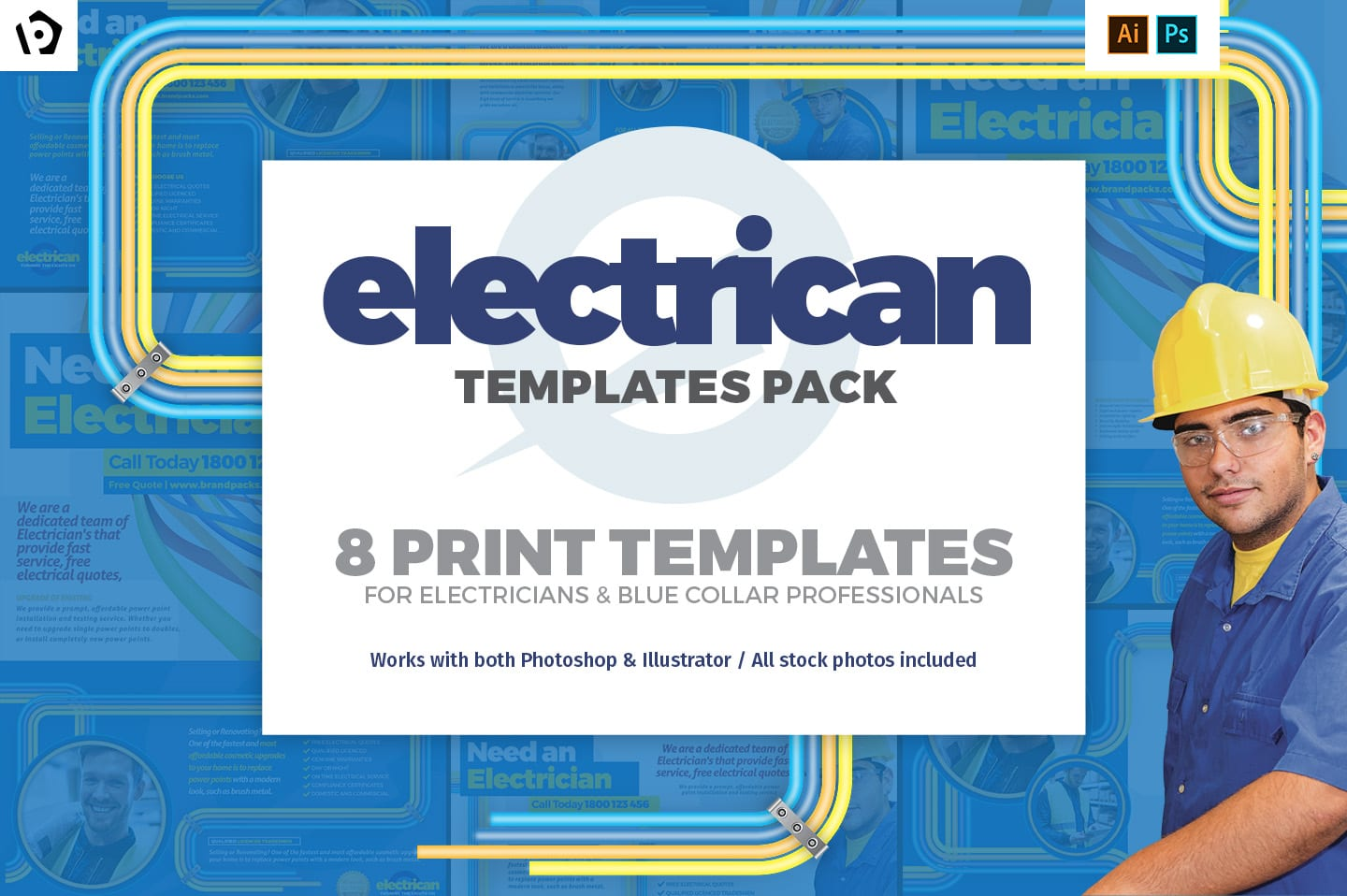 Electrician Templates Pack by BrandPacks