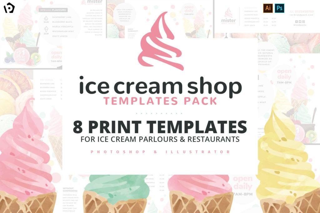 Ice Cream Shop Templates for Photoshop & Illustrator