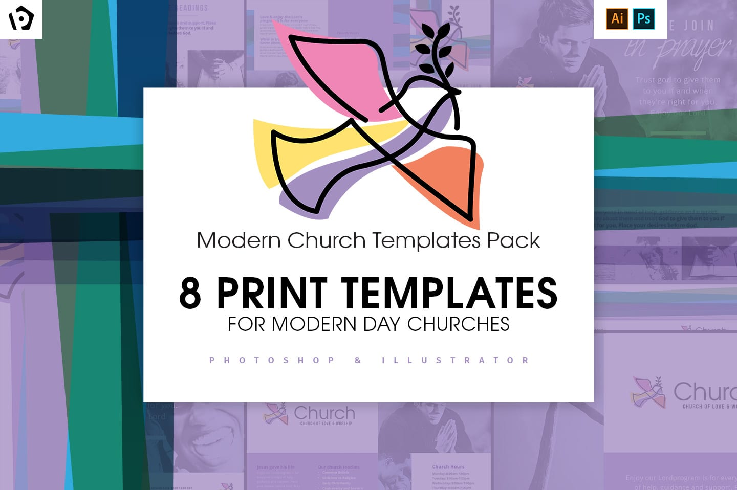 Modern Church Templates for Photoshop & Illustrator