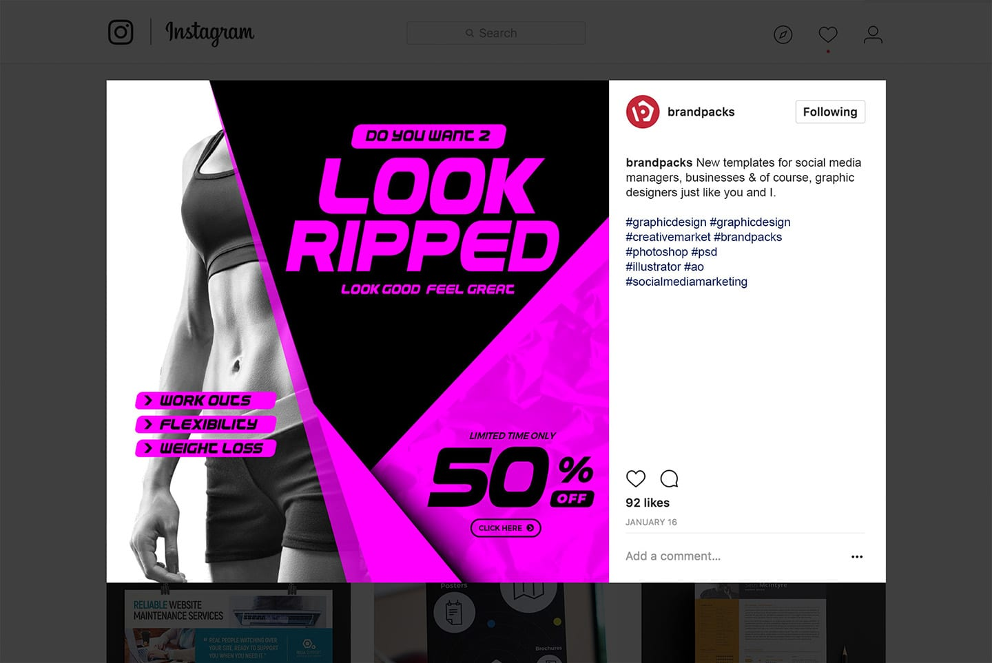 Instagram Template for Sport & Fitness
